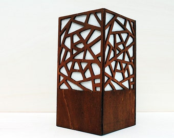 Grid. Table lamp in wood and paper. Wooden lamp. Handmade lamp #OOAK #gift