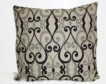 Decorative 12x16 Tan and Black  Pillow Cover