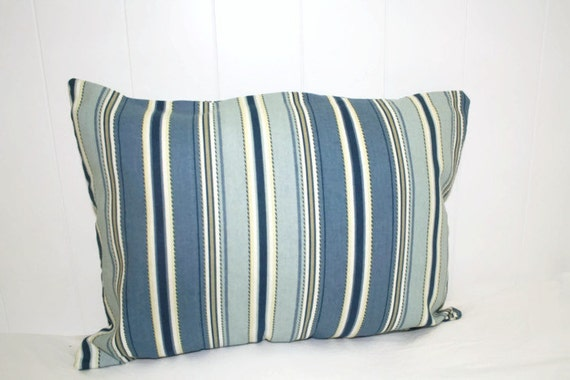 Decorative lumbar pillow 12x16 in Blue Stripe Coastal Pillow