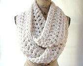 New Fisherman Winter White Cream Chunky Scarf Fall Winter Women's Accessory Infinity Ready To Ship In 2 Days