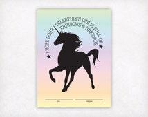 Printable Kids Valentine Card, Girls Valentine Cards, Rainbow Unicorn Valentine, Kids School Valentines Day Card, Instant Download Card