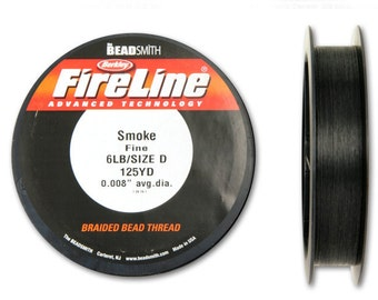 Fireline Smoke 6LB 125 YDS Size D Braided Bead Thread