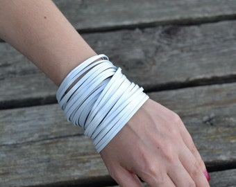 NIDA White Leather Bracelet, Pearly White Leather Bracelet, made from thick surplus leather