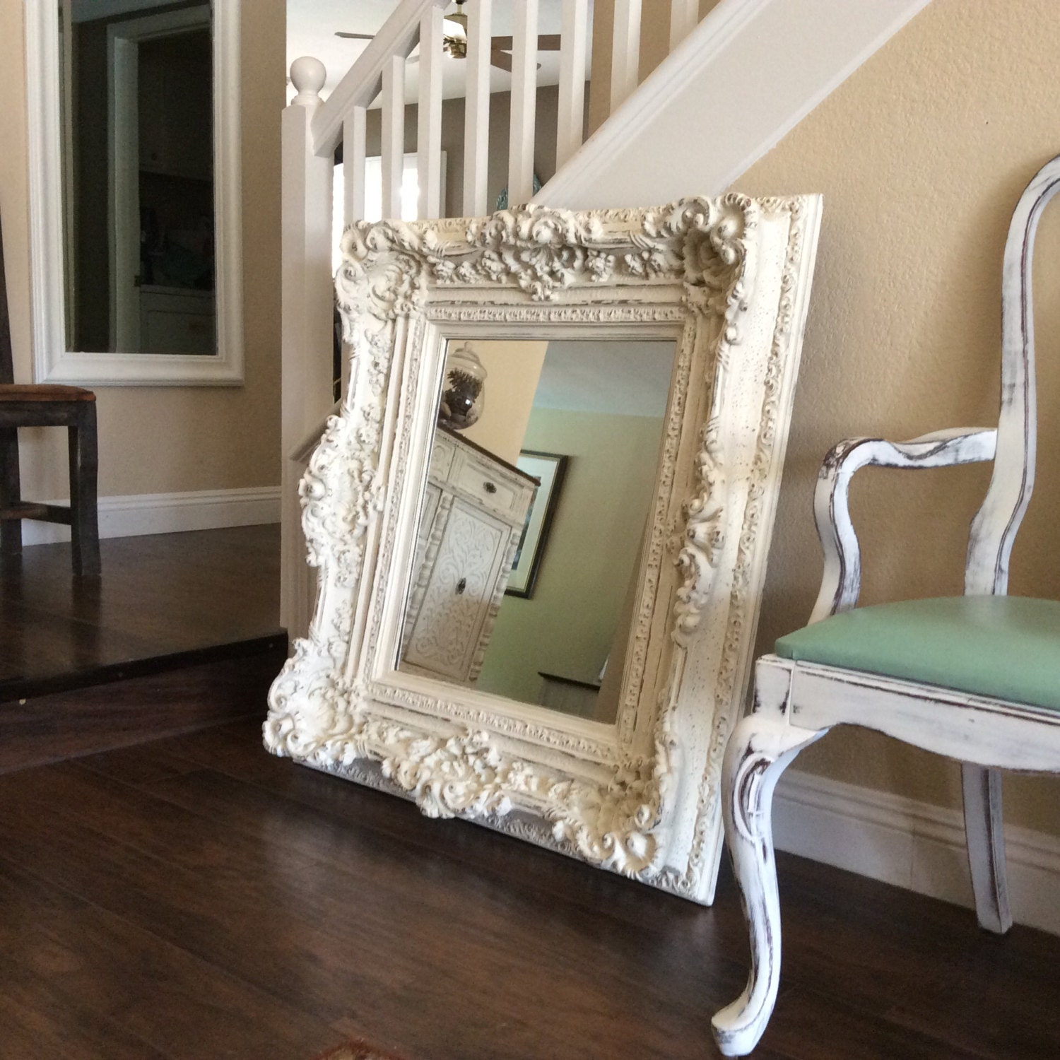 Fabulous large white mirror shabby chic mirror cottage chic for Large white mirror