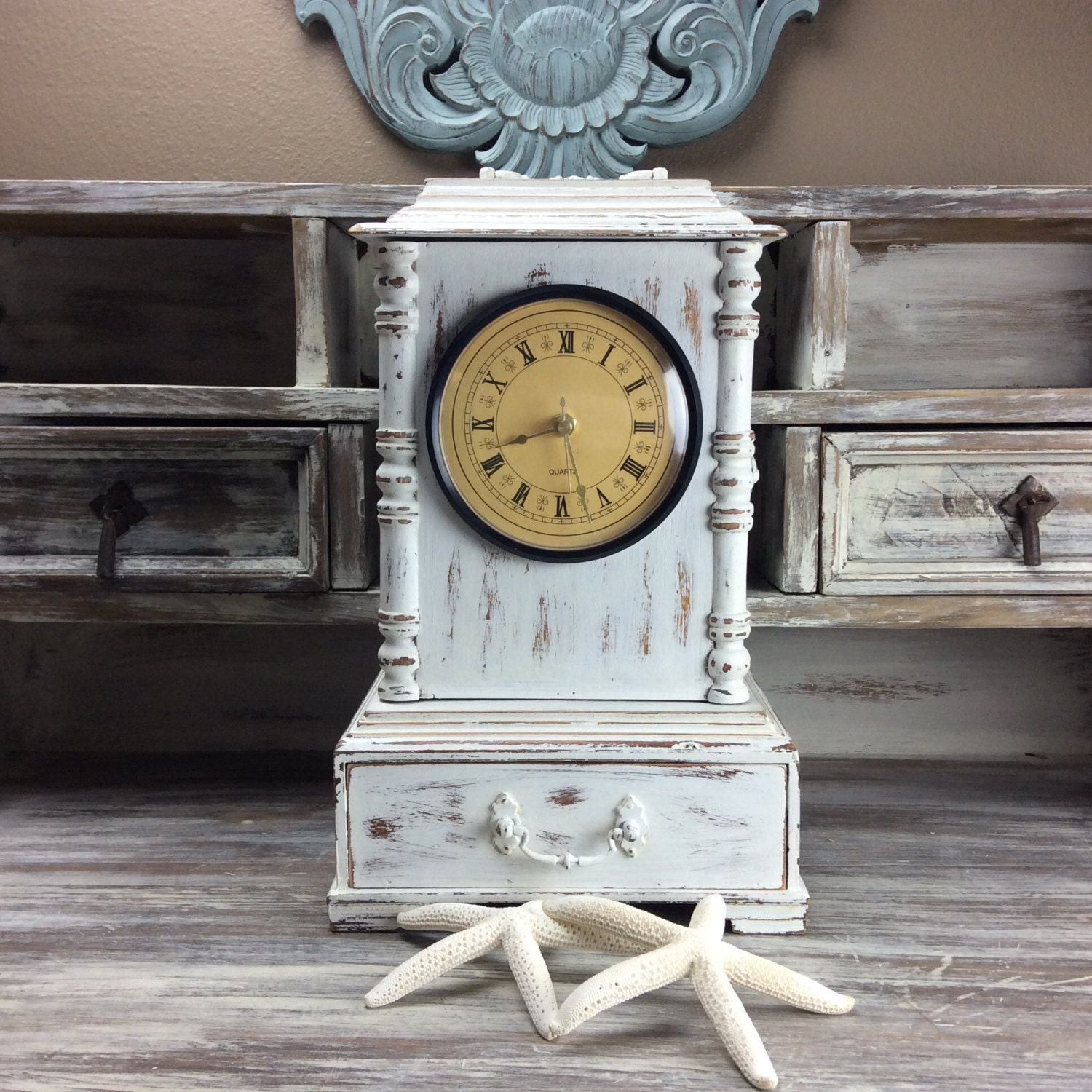 Rustic white clock mantle wooden desk