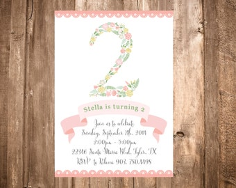 Pink Whimsical Floral Number Birthday Invitation; Printable or set of 10