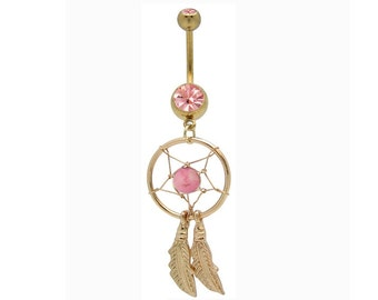 Belly Ring Beautiful Goldtone DREAM CATCHER Pink Bead Pink Gems Curved Feathers 14 gauge Navel Piercing Body Jewelry