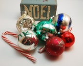 Vintage Christmas Ornaments and Homemade Noel Box