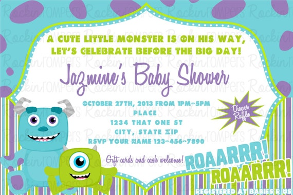 Monster Inc Baby Shower Invitations and get inspiration to create nice invitation ideas