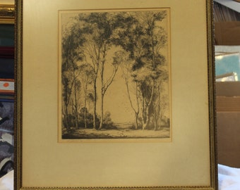 "Mildred Bryant Brooks ""The Gateway"" Drypoint Etching Circa (1901 - 1995)"