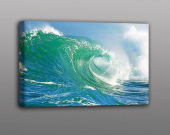 Big Crashing Surf Wave Photo Stetched Canvas Print Wall Art