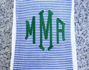 Baby Burp Cloth with Monogram in Blue Seersucker / Monogram Baby Gift
