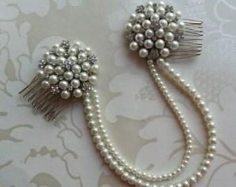 Bridal Ivory Pearl Diamante Double Draping Hair Comb/Clip Forehead Bun Wrap boho brooch