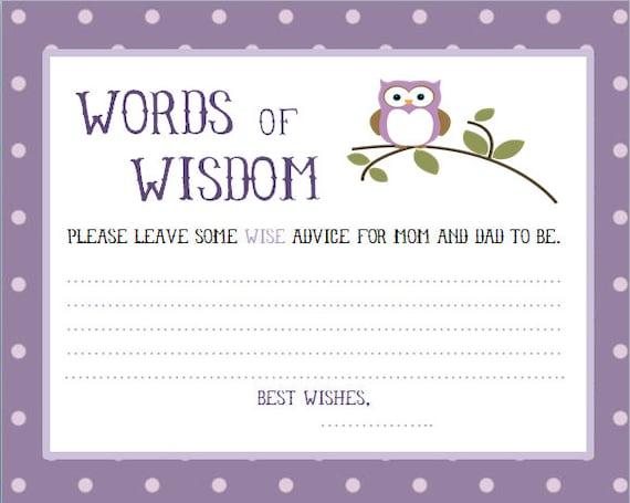 owl baby shower words of wisdom cards