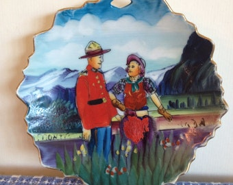 Vintage RCMP Mountie and Lady Miniature Plate