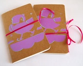 Travel booklets. with bird print by Fink pink. a sketchbook for on the go