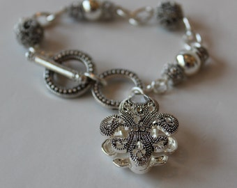 Beautiful Silver Fleur De Lis Bracelet By: Nina Fontana