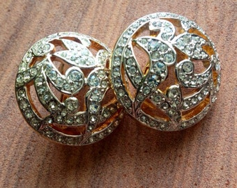 Fabulous Vintage Two Tone Rhinestone Clip-On Earrings