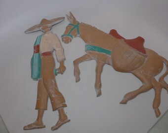 Vintage Mexican Man and Burro Wall Hangers