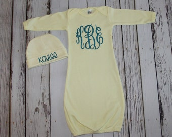 Monogrammed Baby Gown and Beanie - Boy or Girl - Yellow - Gender Neutral - Newborn - Baby Gift - Embroidered - Personalized