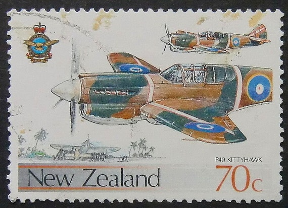 P40 Kitty Hawk Aircraft New Zealand -Handmade Framed Postage Stamp Art 6587AM