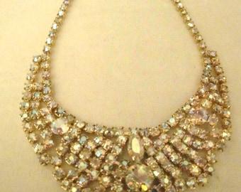 Vintage Aurora Borealis Goldtone Necklace