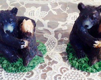Pair of Black Bears, Only 2 inches tall, Identical Twins, Just Hanging Around the Tree Stump.