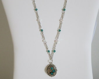 Steampunk Necklace- Vintage Watch Movement Embellished with Green Rhinestones