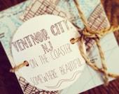 Ventnor City NJ Coasters Handmade on Travertine Stone