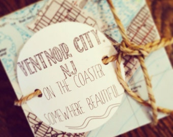 Ventnor City NJ Coasters Handmade on Travertine Stone