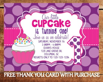 First Birthday Cupcake Invitation - 1st Birthday Girl Party Invite with FREE Thank You Card