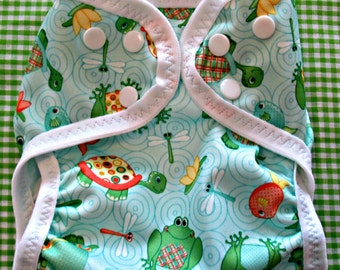 """Diaper Cover, Babyville Boutique """"Turtles and Frogs"""" Design"""