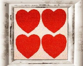 Art Print 4ever Hearts by Andy Warhol