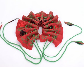 Ruffle nuno felt scarf with drawstrings - patterned, red, black and green, nuno felted shawl, wearable art, handmade of merino wool [S106]