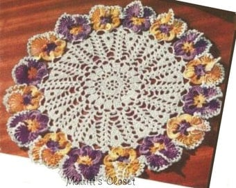 "Pansy Doily, 11.5"", Vintage Crochet Pattern, INSTANT DOWNLOAD PDF"