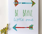 SALE: Be Brave Little One Canvas Wrap - 14x18 - Be Brave - Tribal Nursery Canvas - Nursery Canvas Art