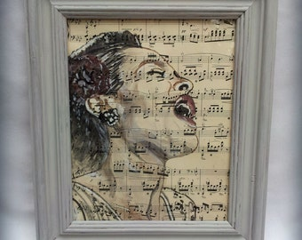 Original Watercolour Portrait Billie Holiday Book Art Unframed