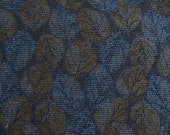Pretty Blue & Pecan Brown Woven LEAVES Contemporary Upholstery Fabric   Handbag  Pillow