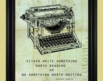 Vintage Typewriter Print, Antique Typewriter, Underwood Typewriter Art, Benjamin Franklin Quote