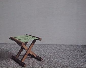 Vintage Folding Camp Stool, Vintage Camp Stool Green Net Seat