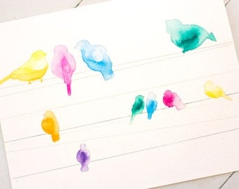 Birds on a Wire Painting - Children's Art Bird Watercolor Painting