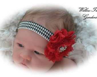 Crimson Red and Houndstooth Shabby Chic Headband, Alabama Colors, Baby/Toddler/Girl/Adult Headband, Photo Prop