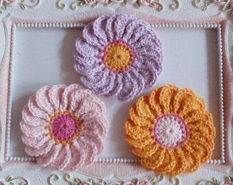 3 crochet flowers applique CH-045-01