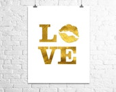 Love Print, Gold Wall Art Print, Gold Foil Print, Gold Artwork, Anniversary Gift, Valentine's Gift, Bedroom Wall Art, Love Poster