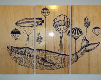 Whale In Flight Wall Art  - Kids Room Art - Nursery - Baby Shower Gift for Him / Her - Decor - Nature art - Animal art - Vintage Wood Art