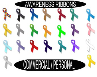 Awareness Ribbon Instant Download 46 Individual Image Files  Digital Clip Art Graphics for Commercial or Personal Use Awareness ribbons