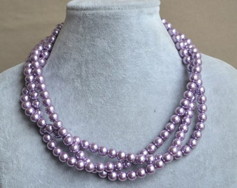 light purple pearl necklaces, lilac pearl necklaces,3 strand 18 inches glass pearl necklace,lilac bead necklace,twisted lilac pearl necklace