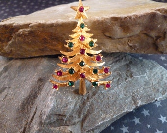 Vintage Mylu Collectible Christmas Tree Pin with Sparkling Rhinestones Book Piece circa 1960s