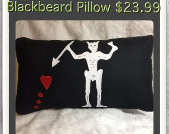 "Blackbeard - Edward Teach Pillow 17""x9"""