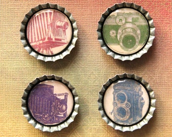 Set of Four Vintage Camera Bottlecap Magnets